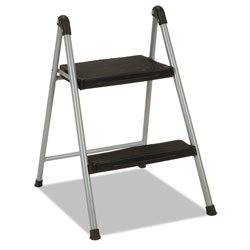 Cosco Folding Step Stool, 2-Step, 200 lb Capacity, 16.9 in Working Height, Platinum/Black