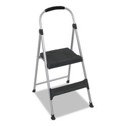 Cosco Aluminum Step Stool, 2-Step, 225 lb Capacity, 18.9 in Working Height, Platinum/Black