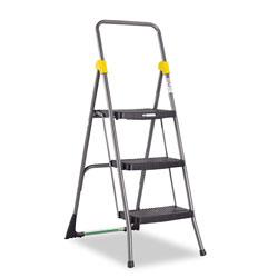 Cosco Commercial 3-Step Folding Stool, 300 lb Capacity, 20.5w x 32.63d x 52.13h, Gray