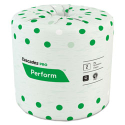 Cascades Perform Standard Bathroom Tissue, Septic Safe, 2-Ply, White, 4 x 3 1/2, 336 Sheets/Roll, 48 Rolls/Carton