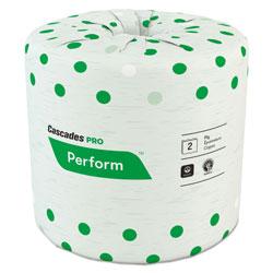 Cascades Perform Standard Bathroom Tissue, Septic Safe, 2-Ply, White, 4 x 3 1/2, 336 Sheets/Roll, 48 Rolls/Carton