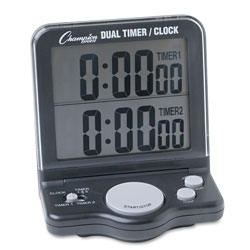 Champion Dual Timer/Clock w/Jumbo Display, LCD, 3 1/2 x 1 x 4 1/2