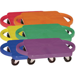 Champion Plastic Scooter Set with Nylon Swivel Casters, 12 x 12, Assorted Colors, 6/Set