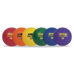 CH Rhino Playground Ball Set, 10 in Diameter, Rubber, Assorted, 6 Balls/Set