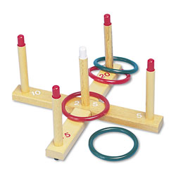 Champion Ring Toss Set, Plastic/Wood, Assorted Colors, 4 Rings/5 Pegs/Set