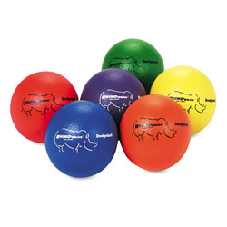 Champion Dodge Ball Set, Rhino Skin, Assorted Colors, 6/Set