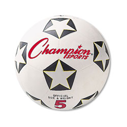 Champion Rubber Sports Ball, For Soccer, No. 5, White/Black