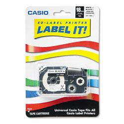 Casio Label Printer Iron-On Transfer Tape, 0.75 in x 26 ft, Black on White