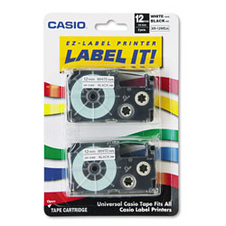 Casio Tape Cassettes for KL Label Makers, 0.5 in x 26 ft, Black on White, 2/Pack