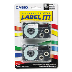 Casio Tape Cassettes for KL Label Makers, 0.75 in x 26 ft, Black on White, 2/Pack
