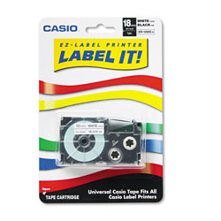 Casio Tape Cassette for KL Label Makers, 0.75 in x 26 ft, Black on White