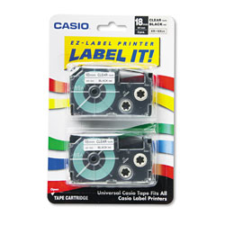 Casio Tape Cassettes for KL Label Makers, 0.75 in x 26 ft, Black on Clear, 2/Pack