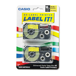 Casio Tape Cassettes for KL Label Makers, 0.75 in x 26 ft, Black on Yellow, 2/Pack