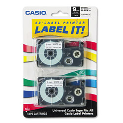 Casio Tape Cassettes for KL Label Makers, 0.37 in x 26 ft, Black on White, 2/Pack