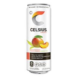 Celsius® Live Fit Fitness Drink, Peach Mango Green Tea, 12 oz Can, 12/Carton