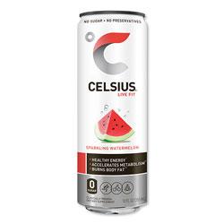 Celsius® Live Fit Fitness Drink, Sparkling Watermelon, 12 oz Can, 12/Carton