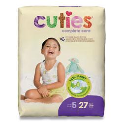 Cuties® Premium Jumbo Diapers, Size 5, Over 27 lbs, 108/Carton