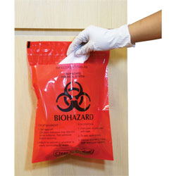 CareTek Biohazard Waste Bag, Peel/Stick, 2.6 Qt, 12 in x 14 in, 100/BX, RD