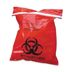 CareTek Stick-On Biohazard Waste Bags, 1.4 qt, 2 mil, 9 in x 10 in, Red, 100/Box