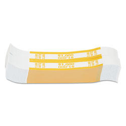 MMF Industries Currency Straps, Yellow, $1,000 in $10 Bills, 1000 Bands/Pack