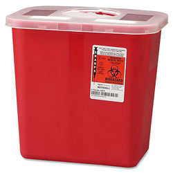 Covidien Biohazard Sharps Container w/ Rotor Lid, 2 Gal., Red