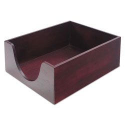 Carver Double-Deep Hardwood Stackable Desk Trays, 1 Section, Letter Size Files, 10.13 in x 12.63 in x 5 in, Mahogany