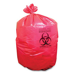 Coastwide Professional™ Biohazard Can Liners, 33 gal, 33 in x 39 in, Red, 150/Carton