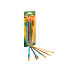 Crayola Arts and Craft Brush Set, Assorted Sizes, Natural Hair, Angled; Flat; Round, 5/Set