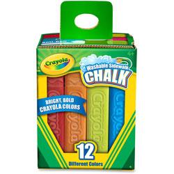 Crayola Washable Sidewalk Chalk, 4 inL, 12/BX, Ast