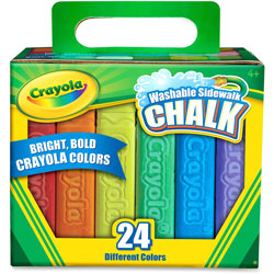 Crayola Washable Sidewalk Chalk, 4 inL, 24/BX, Ast