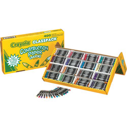 Crayola Construction Paper Crayons, Wax, 25 Each of 16 Colors, 400/Box
