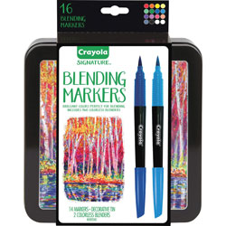 Crayola Markers w/Storage Tin, 7 Colors, 16/ST, Assorted