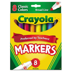 Crayola Non-Washable Marker, Broad Bullet Tip, Assorted Colors, 8/Pack