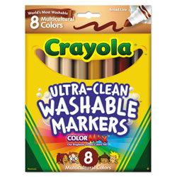 Crayola Multicultural Colors Washable Marker, Broad Bullet Tip, Assorted Colors, 8/Pack