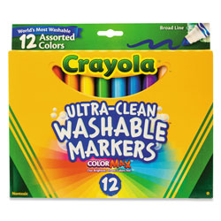 Crayola Ultra-Clean Washable Markers, Broad Bullet Tip, Assorted Colors, Dozen