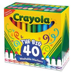 Crayola Ultra-Clean Washable Markers, Broad Bullet Tip, Assorted Colors, 40/Set