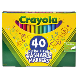 Crayola Ultra-Clean Washable Markers, Fine Bullet Tip, Classic Colors, 40/Set