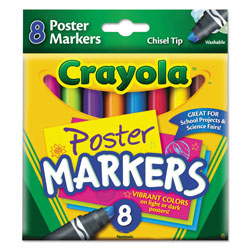 Crayola Washable Poster Markers, Broad Chisel Tip, Assorted Colors,