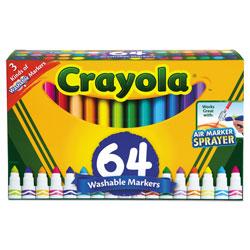 Crayola Broad Line Washable Markers, Broad Bullet Tip, Assorted Colors, 64/Set