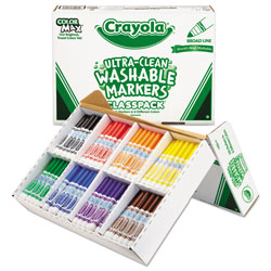Crayola Ultra-Clean Washable Marker Classpack, Broad Bullet Tip, Assorted Colors, 200/Box