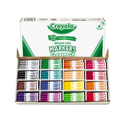 Crayola Non-Washable Marker, Broad Bullet Tip, Assorted Colors, 256/Box