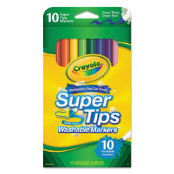Crayola Washable Super Tips Markers, Broad/Fine Bullet Tip, Assorted Colors,