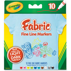 Crayola Fabric Markers, 10 Assorted Colors, 10/Set