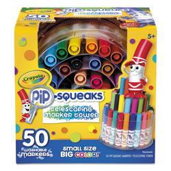 Crayola Pip-Squeaks Telescoping Marker Tower, Medium Bullet Tip, Assorted Colors, 50/Pack