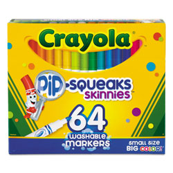 Crayola Pip-Squeaks Skinnies Washable Markers, Medium Bullet Tip, Assorted Colors, 64/Pack