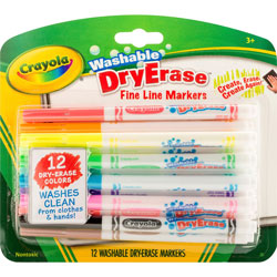 Crayola Washable Dry-Erase Fine Line Markers, 12/BX, Ast