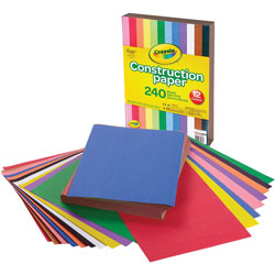 Crayola Construction Paper, 9 in x 12 in, 240Sheets/PK, Ast
