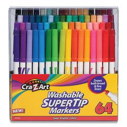 Cra-Z-Art® Washable SuperTip Markers, Broad/Fine Bullet Tip, Assorted Colors, 64/Set