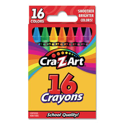 Cra-Z-Art® Crayons, 16 Assorted Colors, 16/Set