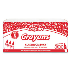 Cra-Z-Art® Crayons, 8 Assorted Colors, 800/Pack